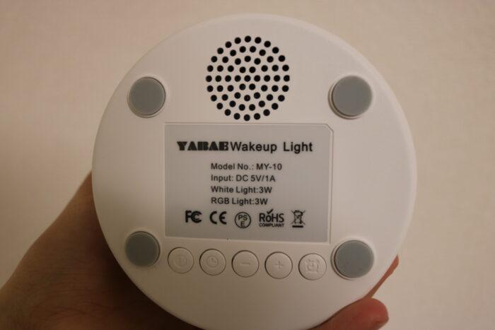 YABAE光目覚まし時計の裏